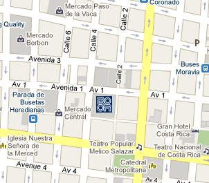 Central Bank of Costa Rica HQ Location Map