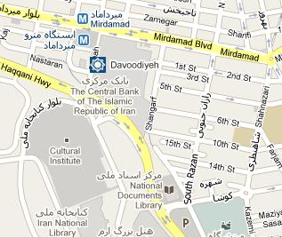Central Bank of Iran HQ Location Map