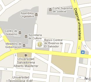 Central Reserve Bank of El Salvador HQ Location Map